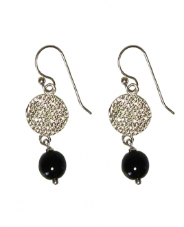 EARRING BLACK SILVER